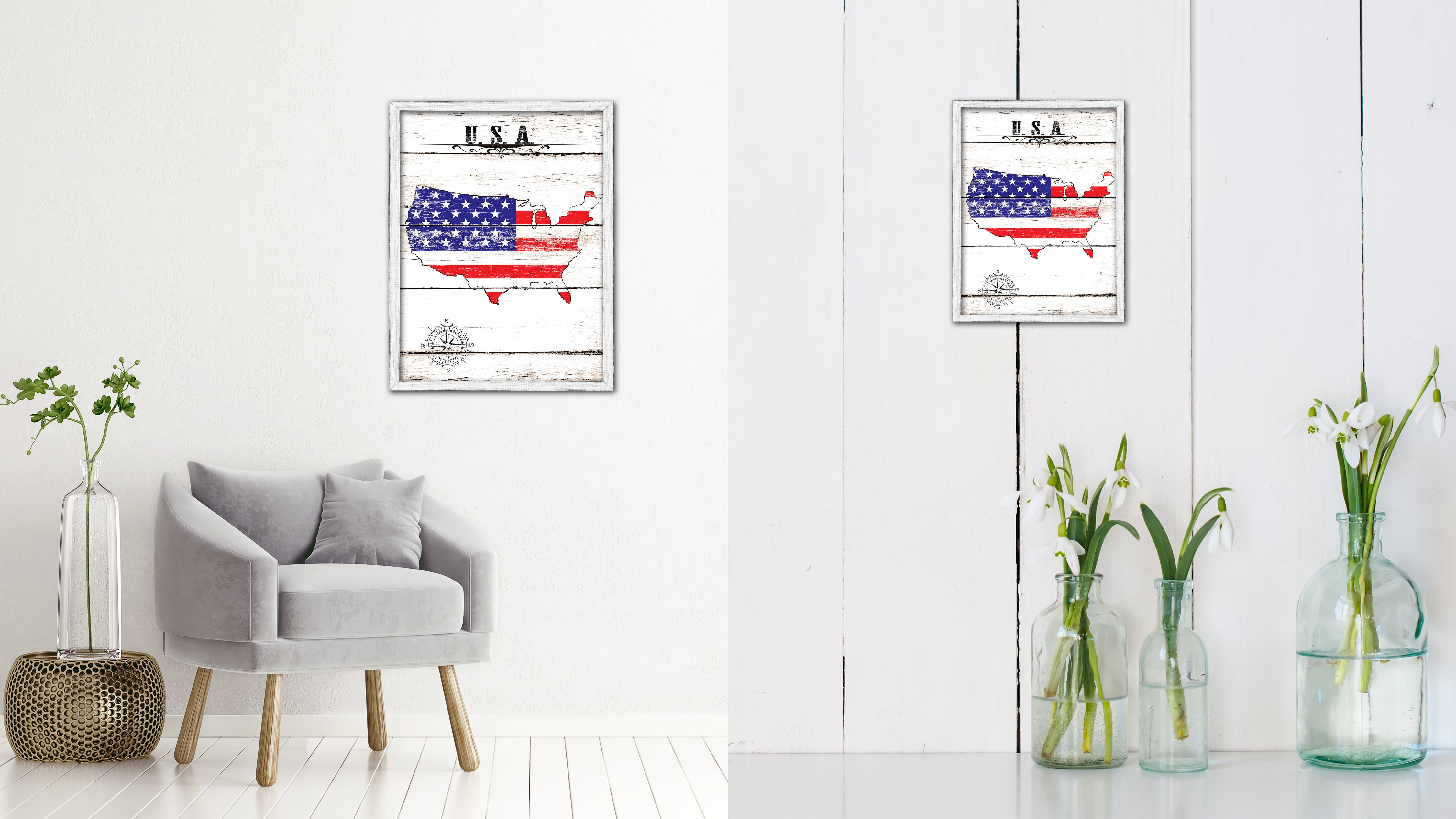 USA Flag Gifts Home Decor Wall Art Canvas Print With Custom Picture Frame