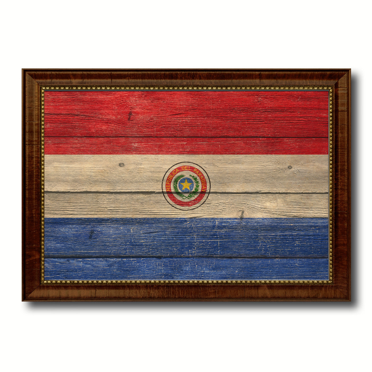 Paraguay Country Flag Texture Canvas Print with Brown Custom Picture Frame Home Decor Gift Ideas Wall Art Decoration