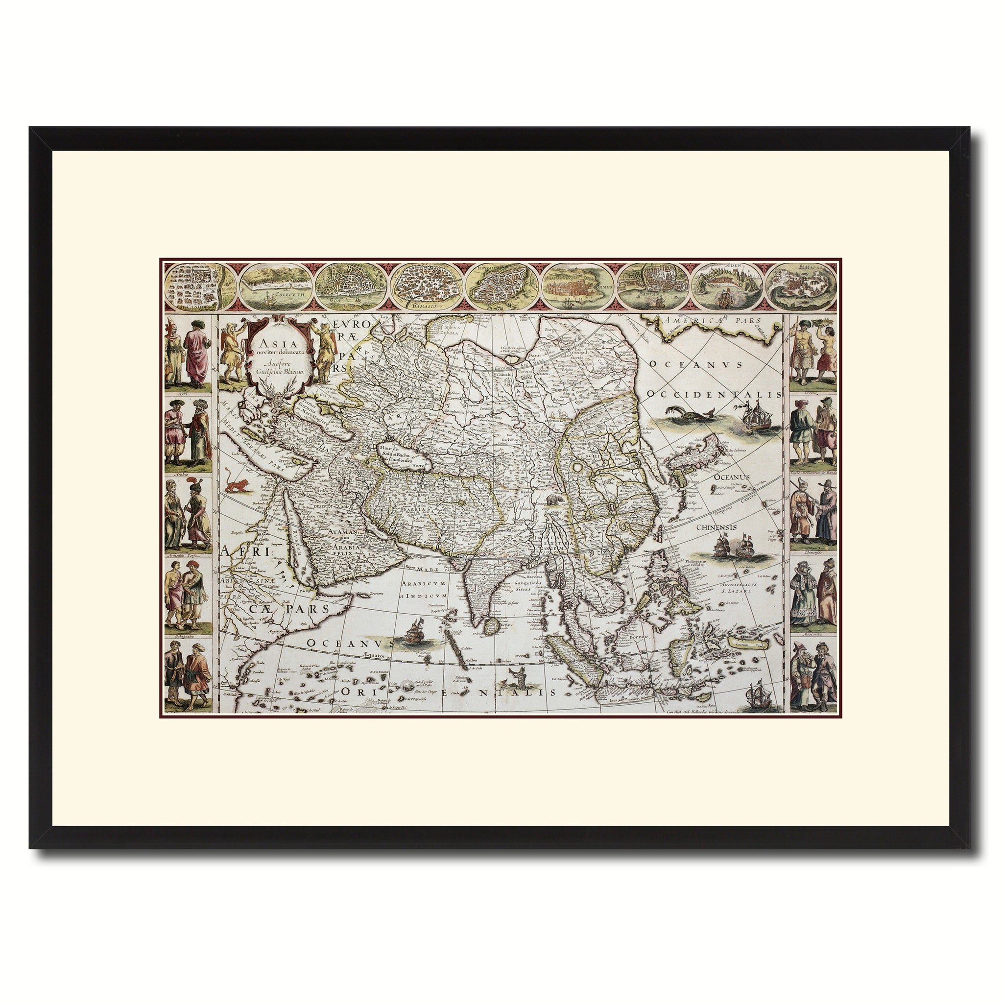 Asia Vintage Antique Map Wall Art Home Decor Gift Ideas Canvas Print Custom Picture Frame