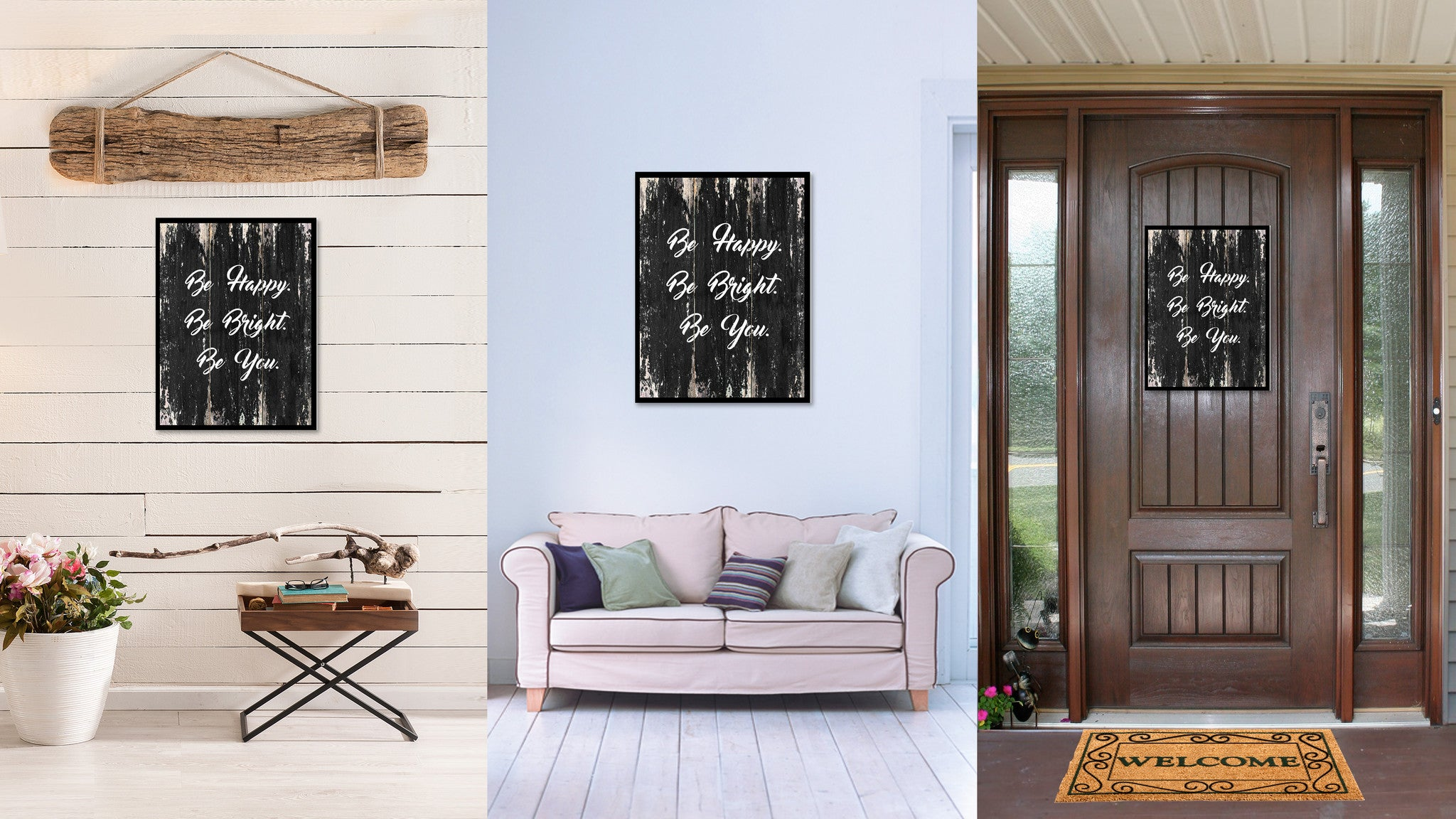 Be happy be bright be you Motivational Quote Saying Canvas Print with Picture Frame Home Decor Wall Art