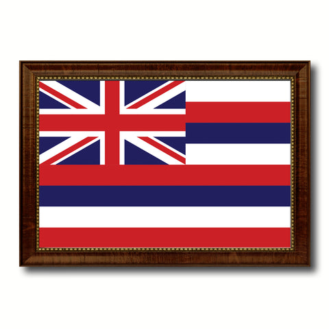 Hawaii State Flag Canvas Print with Custom Brown Picture Frame Home Decor Wall Art Decoration Gifts