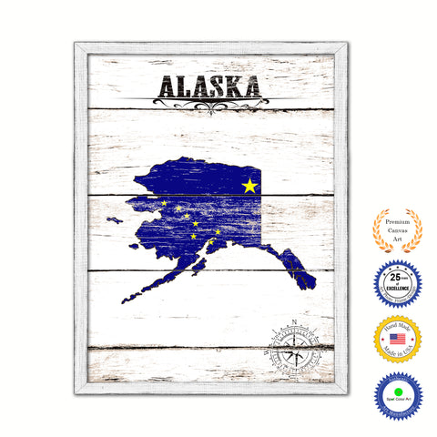 Alaska Flag Gifts Home Decor Wall Art Canvas Print with Custom Picture Frame