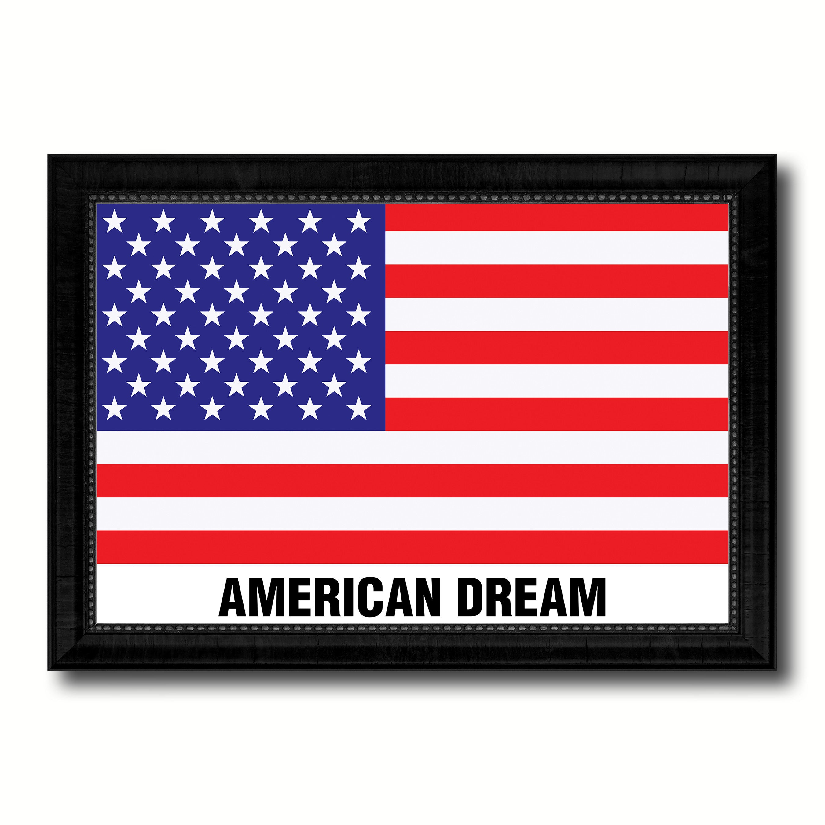 USA American Dream Flag Canvas Print Black Picture Frame Gifts Home Decor Wall Art
