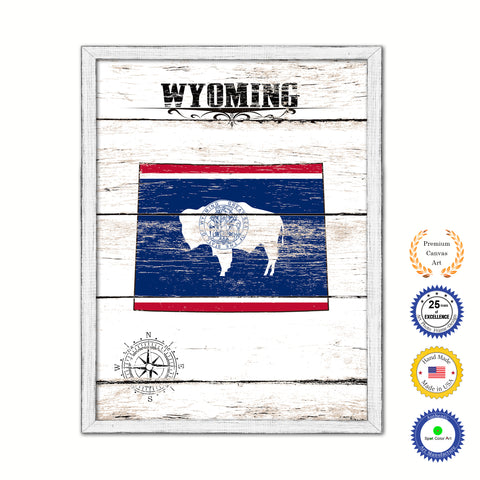 Wyoming Flag Gifts Home Decor Wall Art Canvas Print with Custom Picture Frame