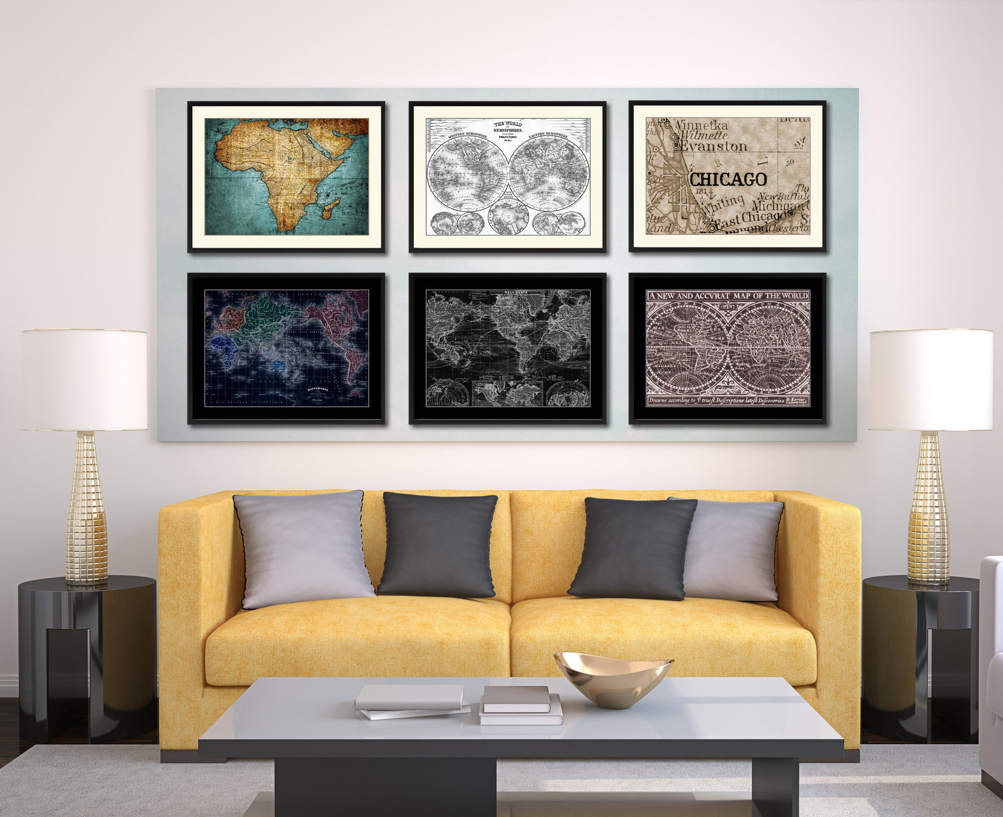 Chicago Illinois Vintage Sepia Map Canvas Print Picture Frame Gifts Home Decor Wall Art Decoration