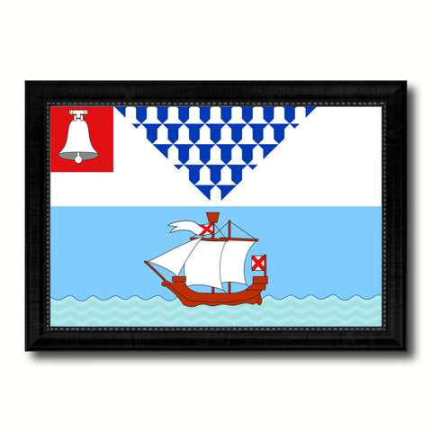 Belfast City Maine State Flag Canvas Print Black Picture Frame