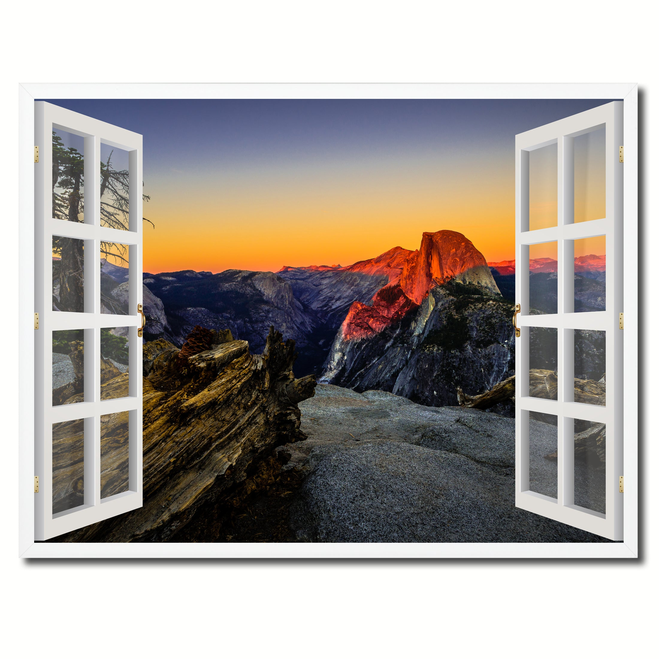 Half Dome At Sunset Yosemite Picture French Window Framed Canvas Print Home Decor Wall Art Collection
