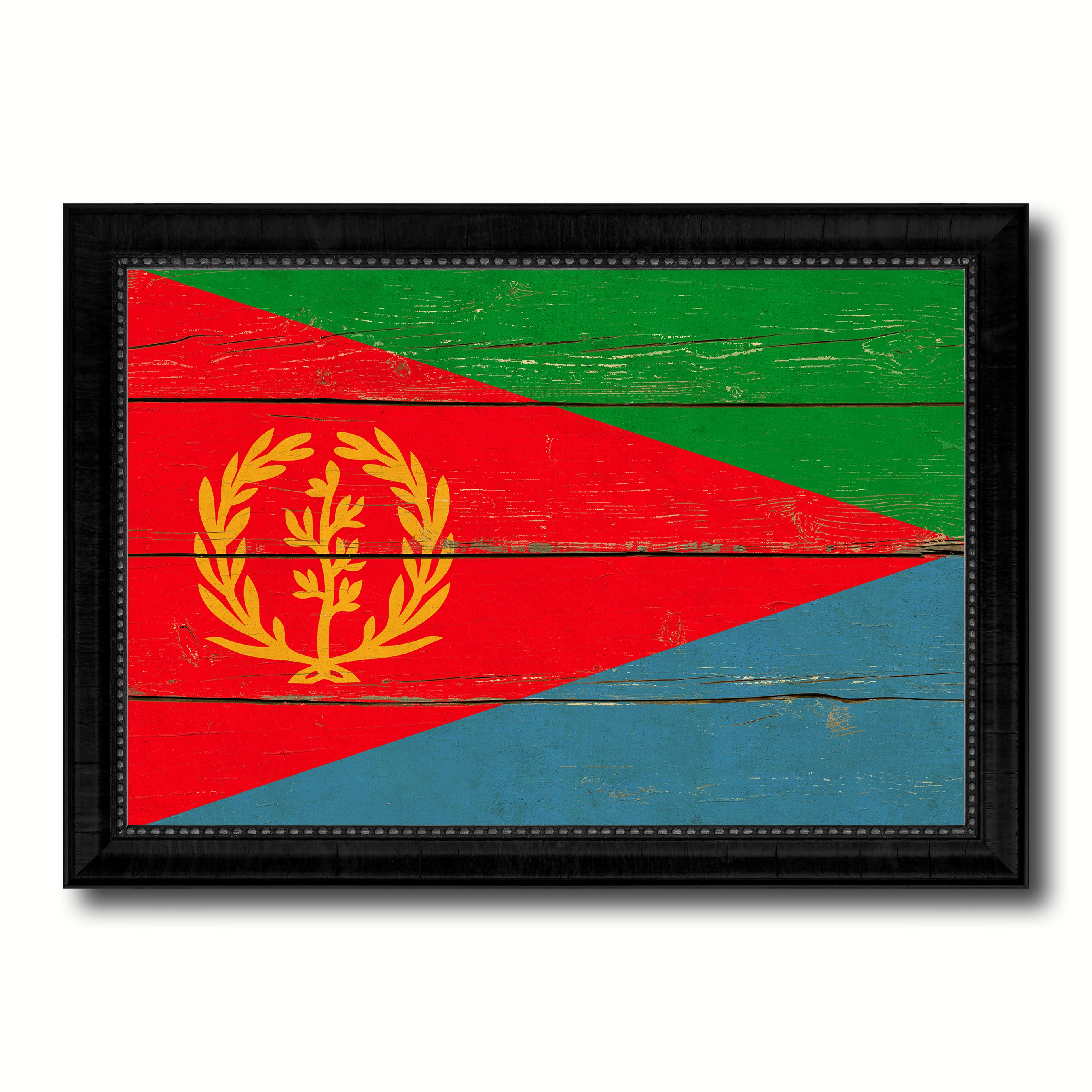 Eritrea Country Flag Vintage Canvas Print with Black Picture Frame Home Decor Gifts Wall Art Decoration Artwork