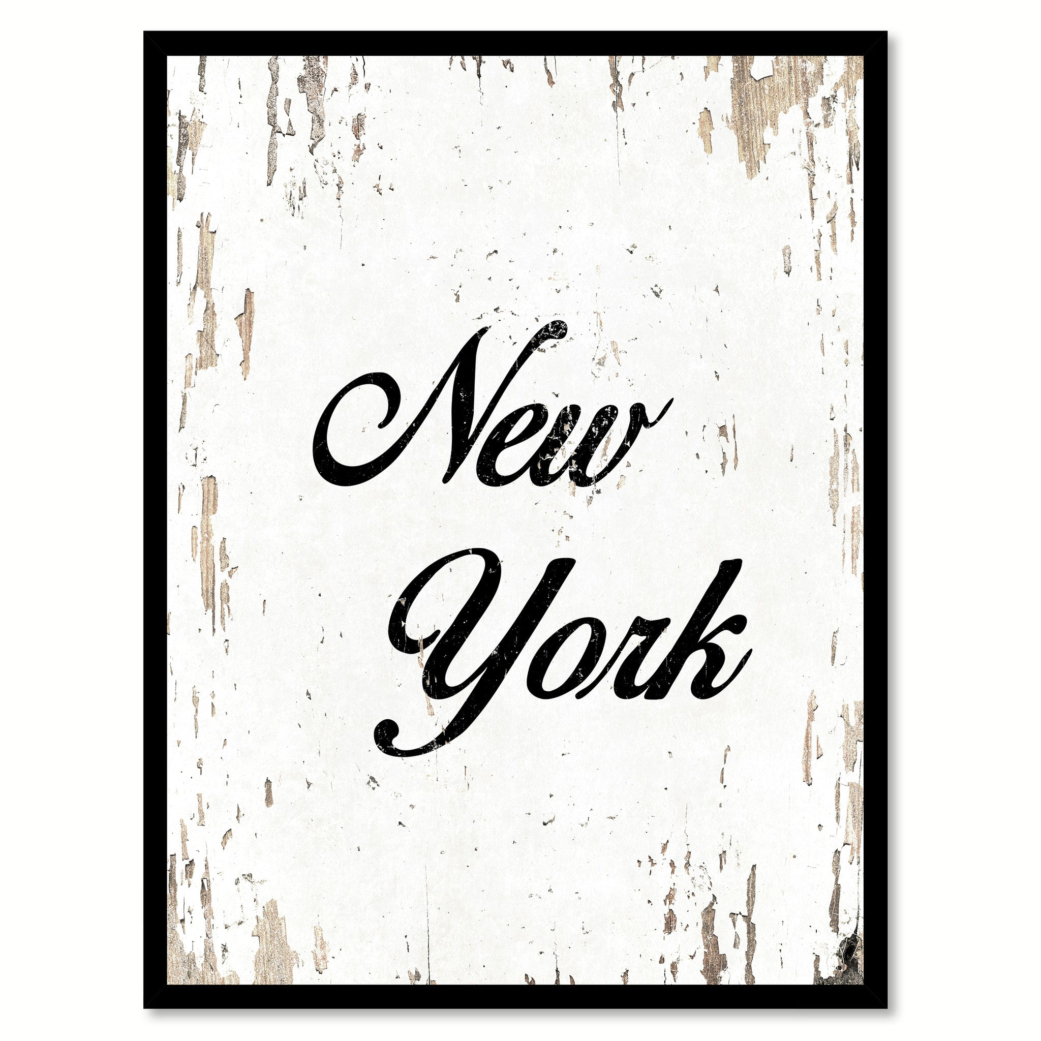 New York City Vintage Canvas Print with Black Picture Frame Home Decor Wall Art Collectibla Decoration Artwork Gifts