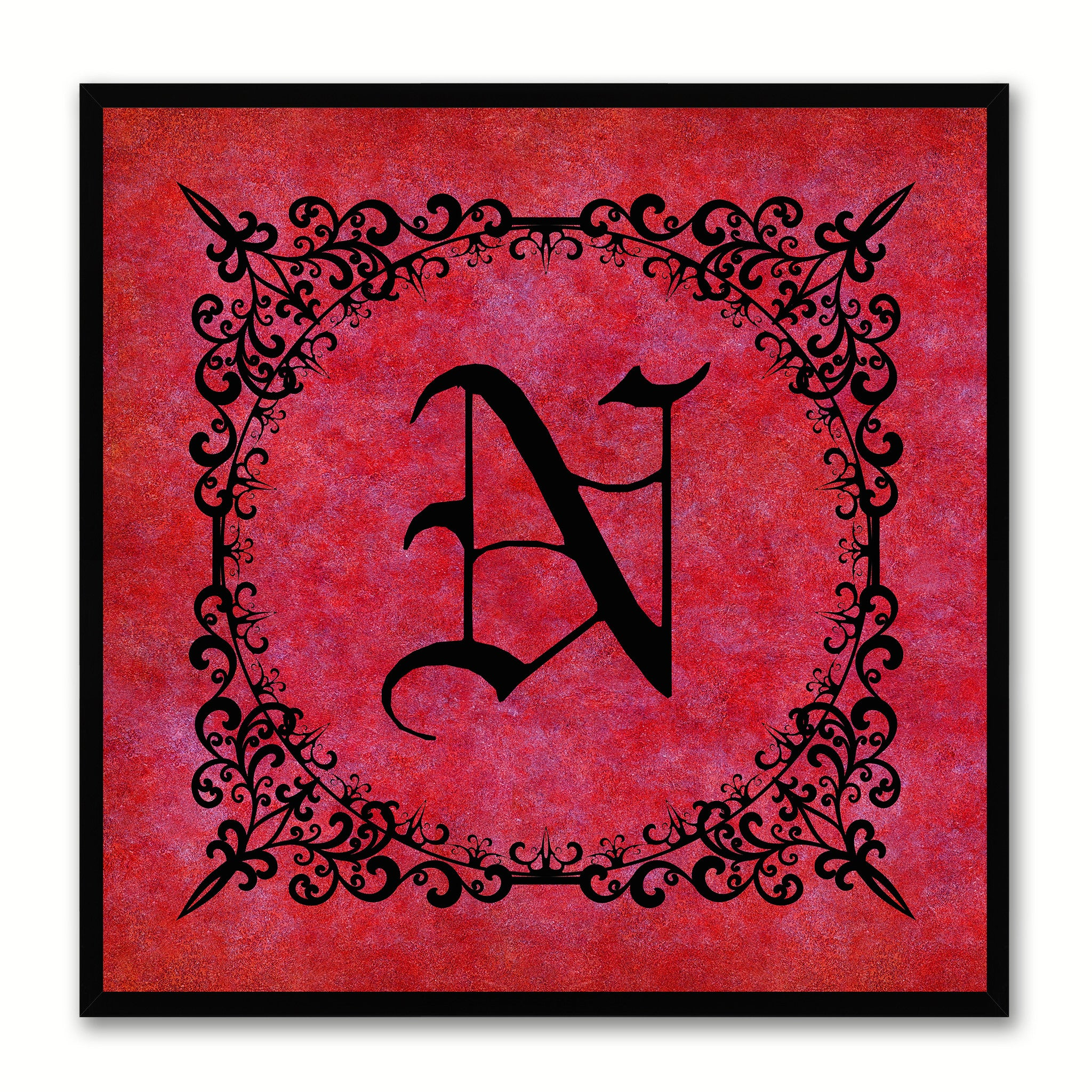 Alphabet N Red Canvas Print Black Frame Kids Bedroom Wall Décor Home Art