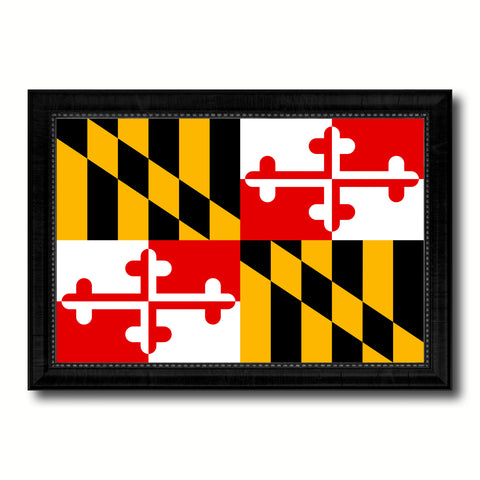 Maryland State Flag Canvas Print with Custom Black Picture Frame Home Decor Wall Art Decoration Gifts