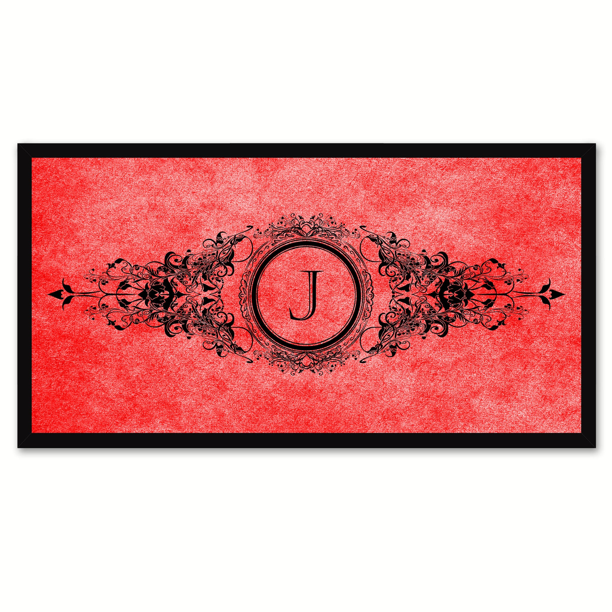 Alphabet Letter J Red Canvas Print, Black Custom Frame