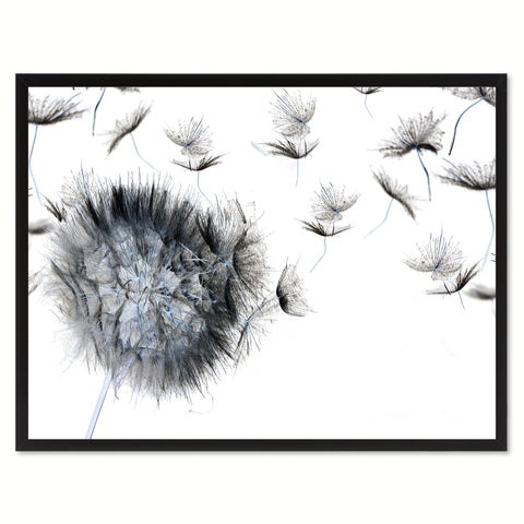 Black Dandelion Flower Framed Canvas Print Home Décor Wall Art