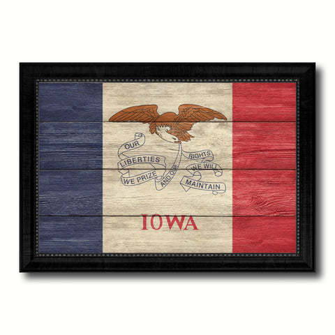 Iowa State Flag Texture Canvas Print with Black Picture Frame Home Decor Man Cave Wall Art Collectible Decoration Artwork Gifts