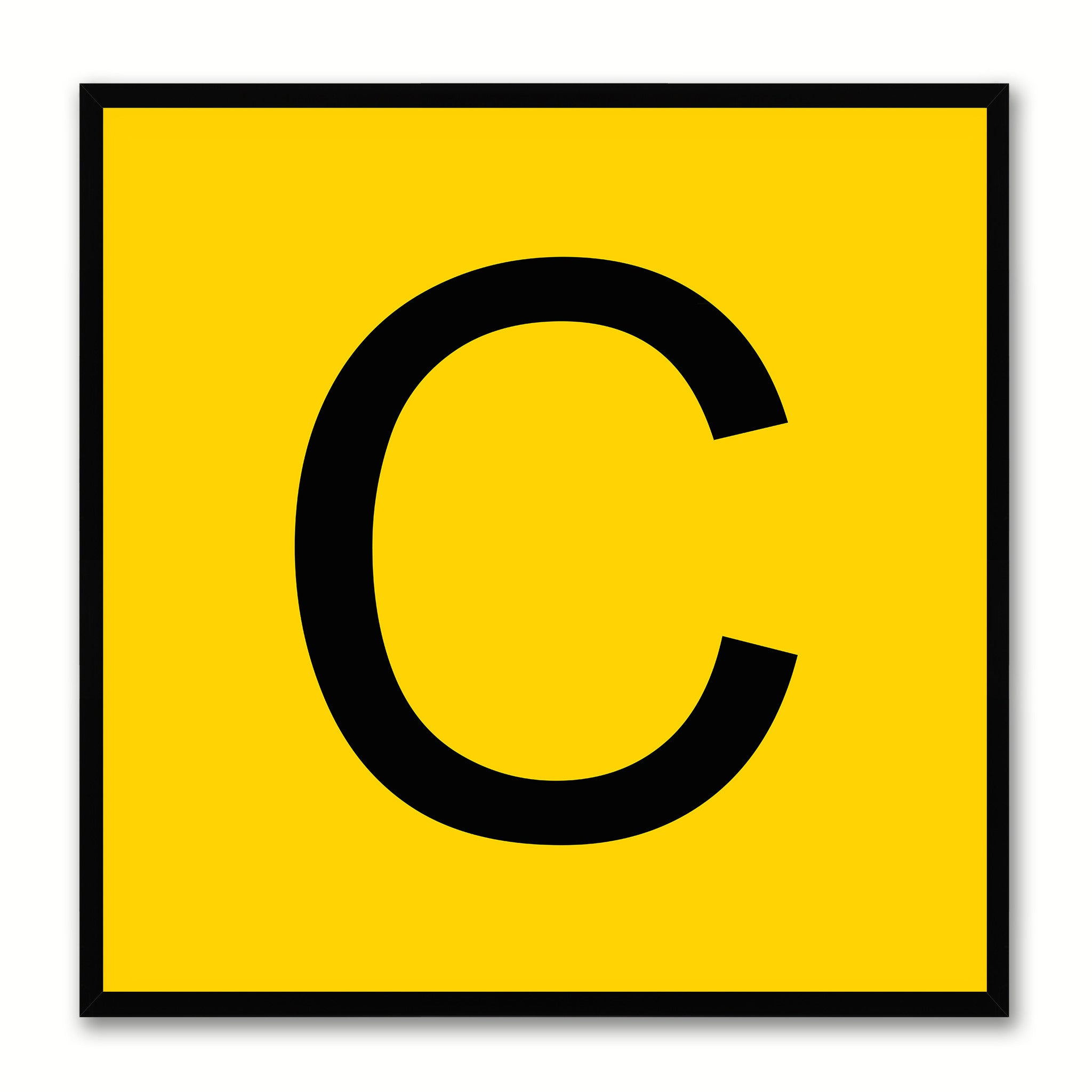 Alphabet C Yellow Canvas Print Black Frame Kids Bedroom Wall Décor Home Art