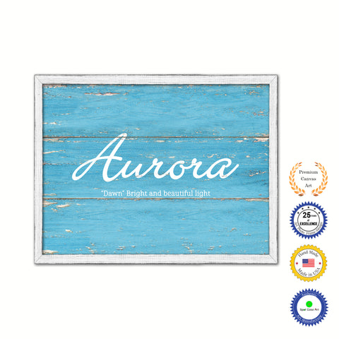Ava Name Plate White Wash Wood Frame Canvas Print Boutique Cottage Decor Shabby Chic