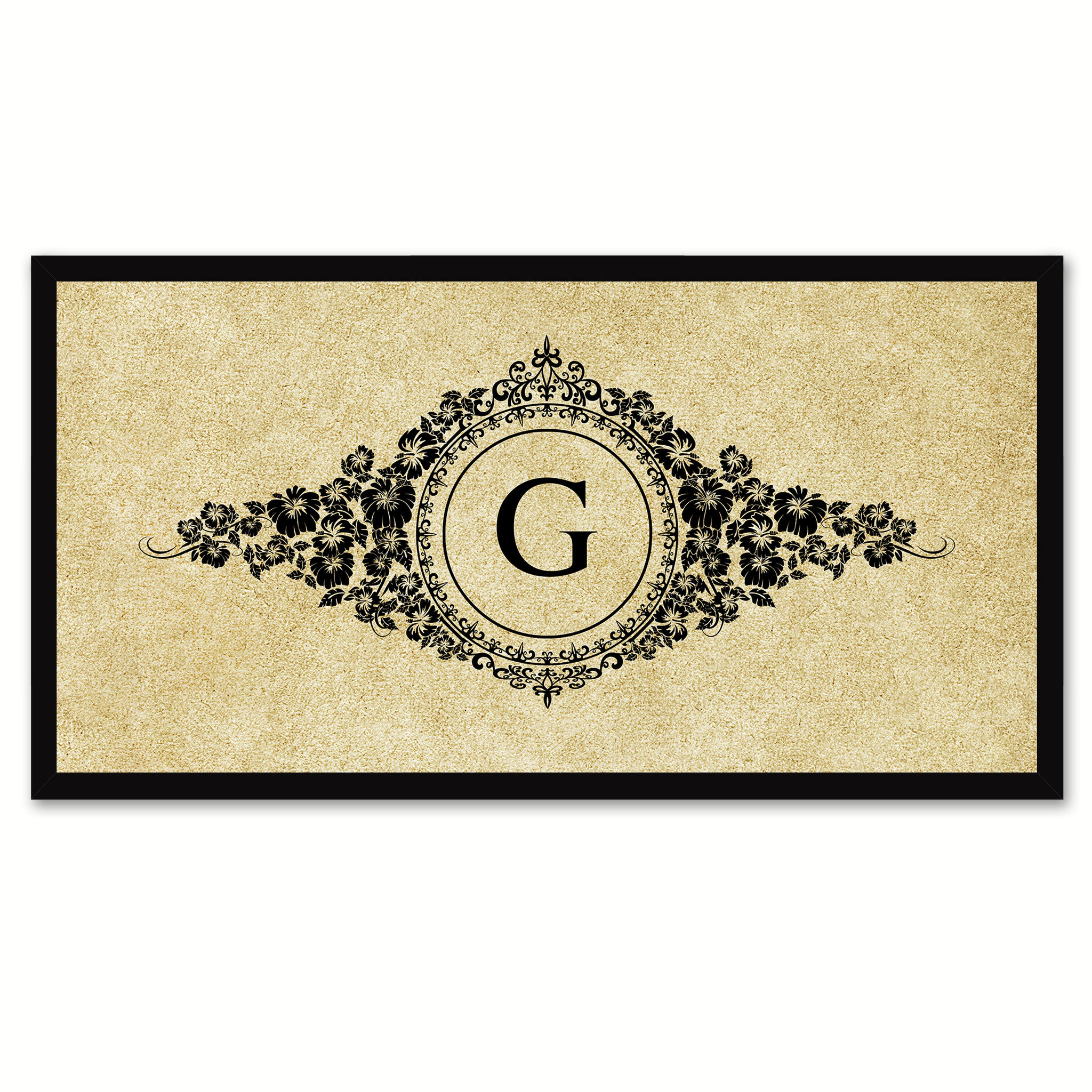 Alphabet Letter G Brown Canvas Print, Black Custom Frame