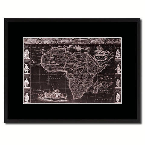 Africa Vintage Vivid Sepia Map Canvas Print, Picture Frames Home Decor Wall Art Decoration Gifts
