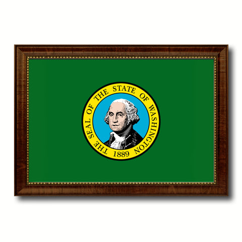 Washington State Flag Canvas Print with Custom Brown Picture Frame Home Decor Wall Art Decoration Gifts