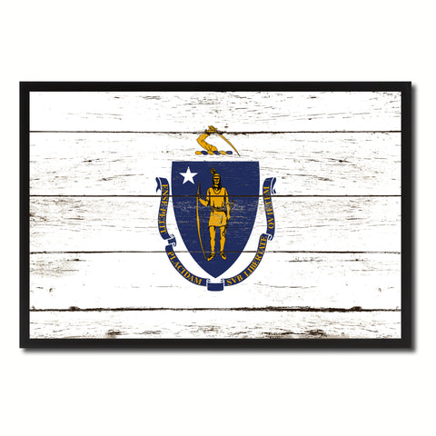 Massachusetts State Flag Vintage Canvas Print with Black Picture Frame Home DecorWall Art Collectible Decoration Artwork Gifts