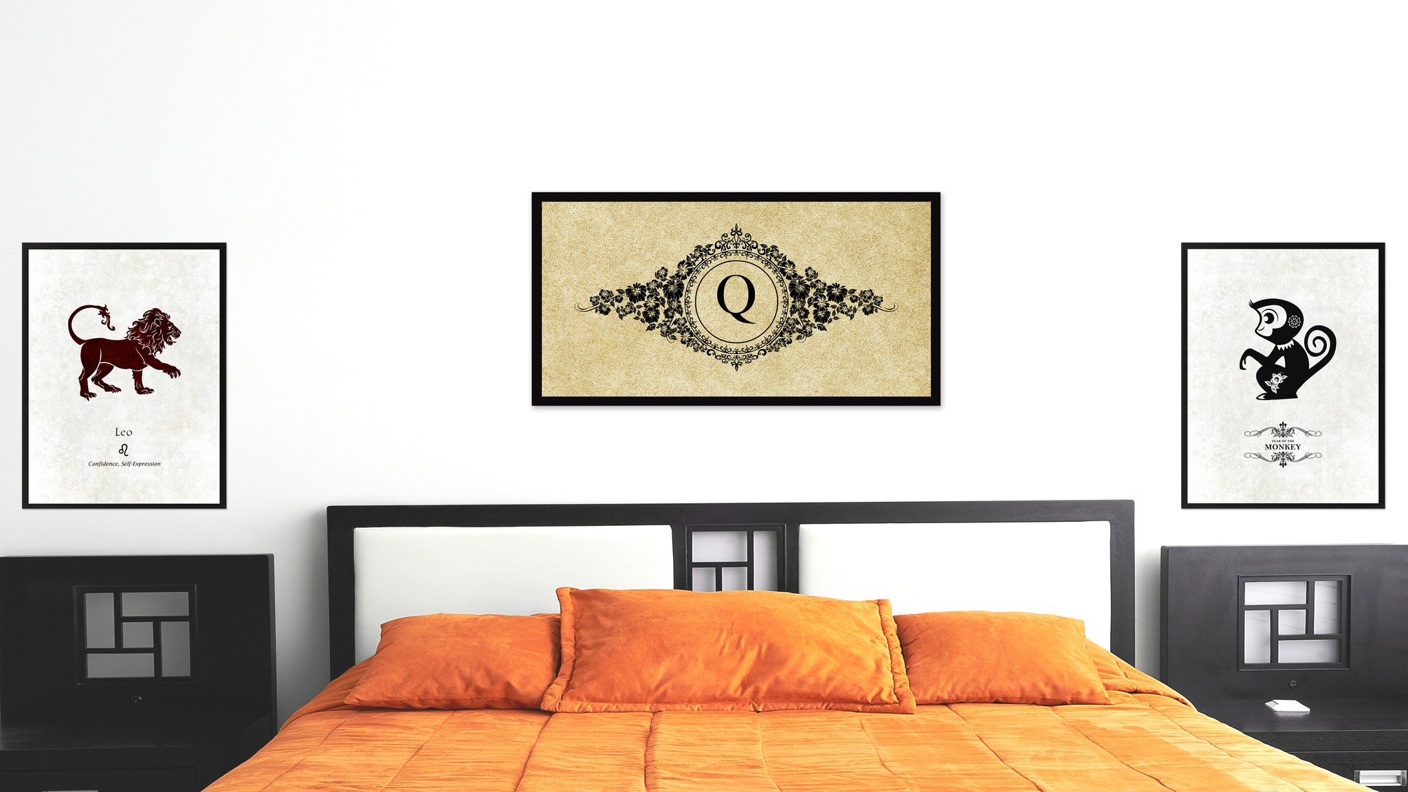 Alphabet Letter Q Brown Canvas Print, Black Custom Frame