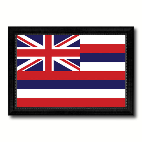 Hawaii State Flag Canvas Print with Custom Black Picture Frame Home Decor Wall Art Decoration Gifts
