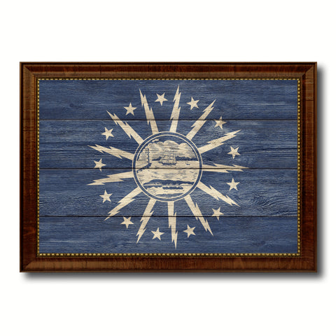 Buffalo City New York State Texture Flag Canvas Print Brown Picture Frame