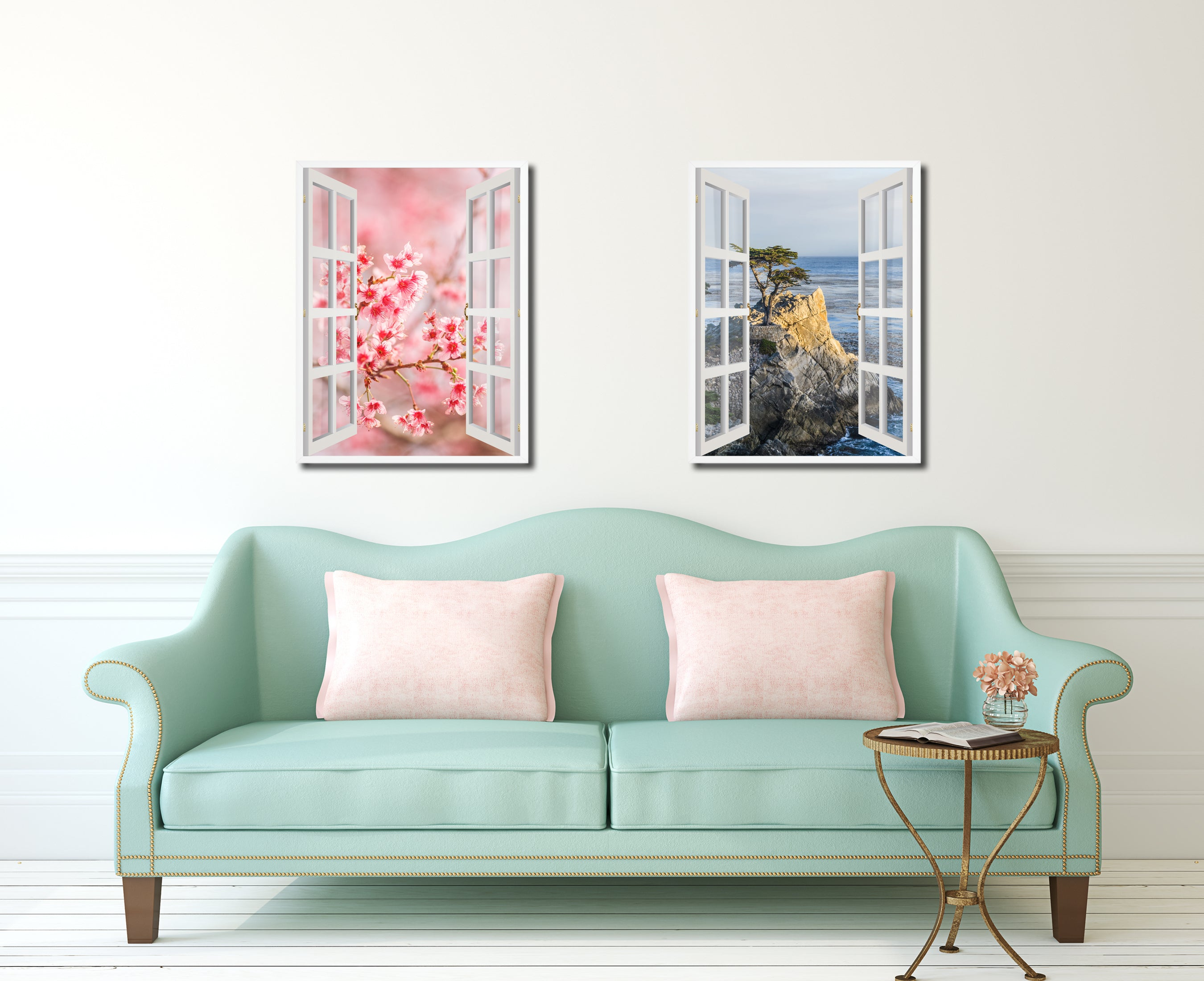Cherry Blossom Beautiful Flower Picture French Window Canvas Print With  Frame Gifts Home Decor Wall Art