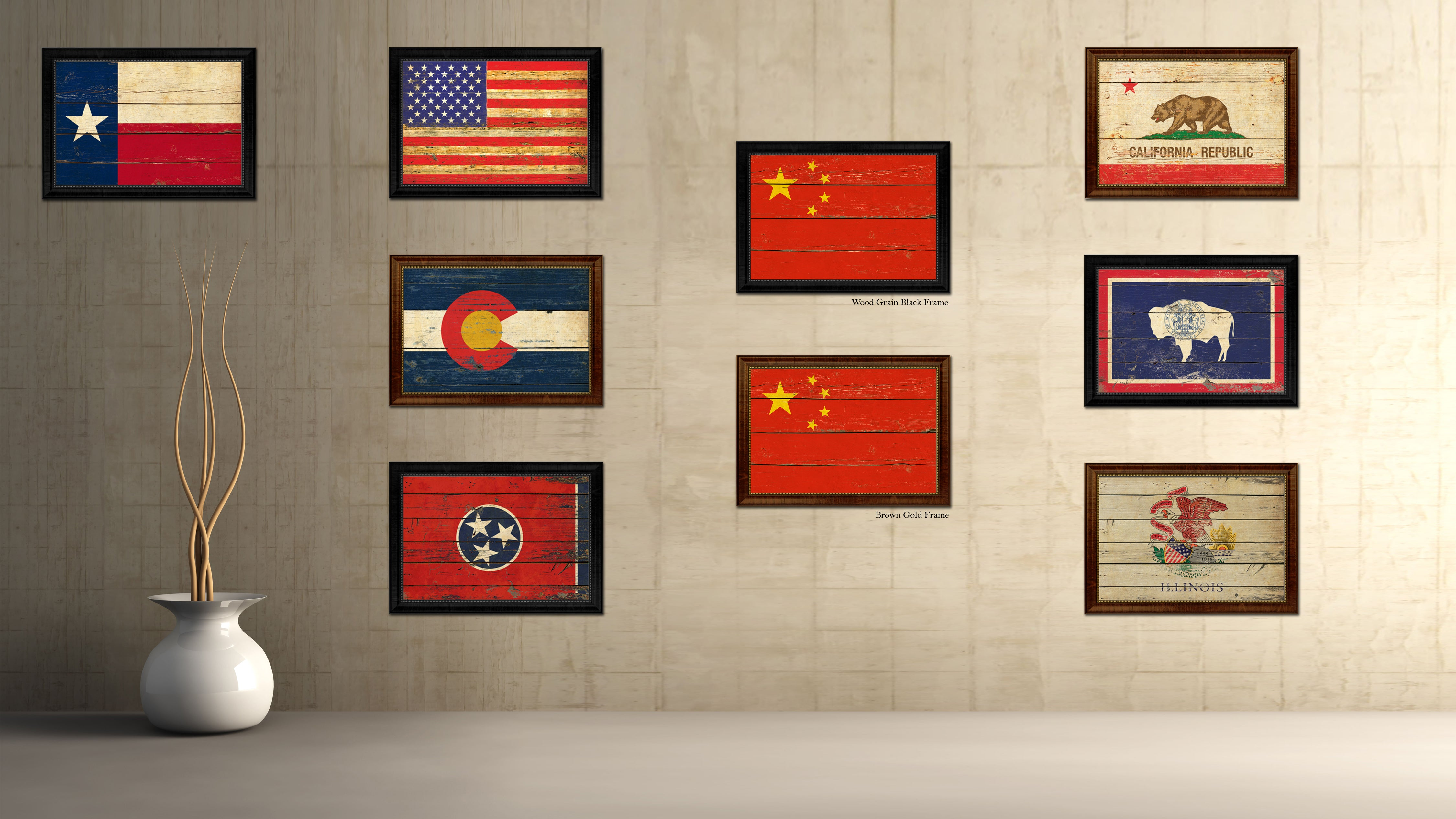 China country vintage flag home decor gift ideas wall art china country flag vintage canvas print with brown picture frame home decor gifts wall art decoration jeuxipadfo Image collections