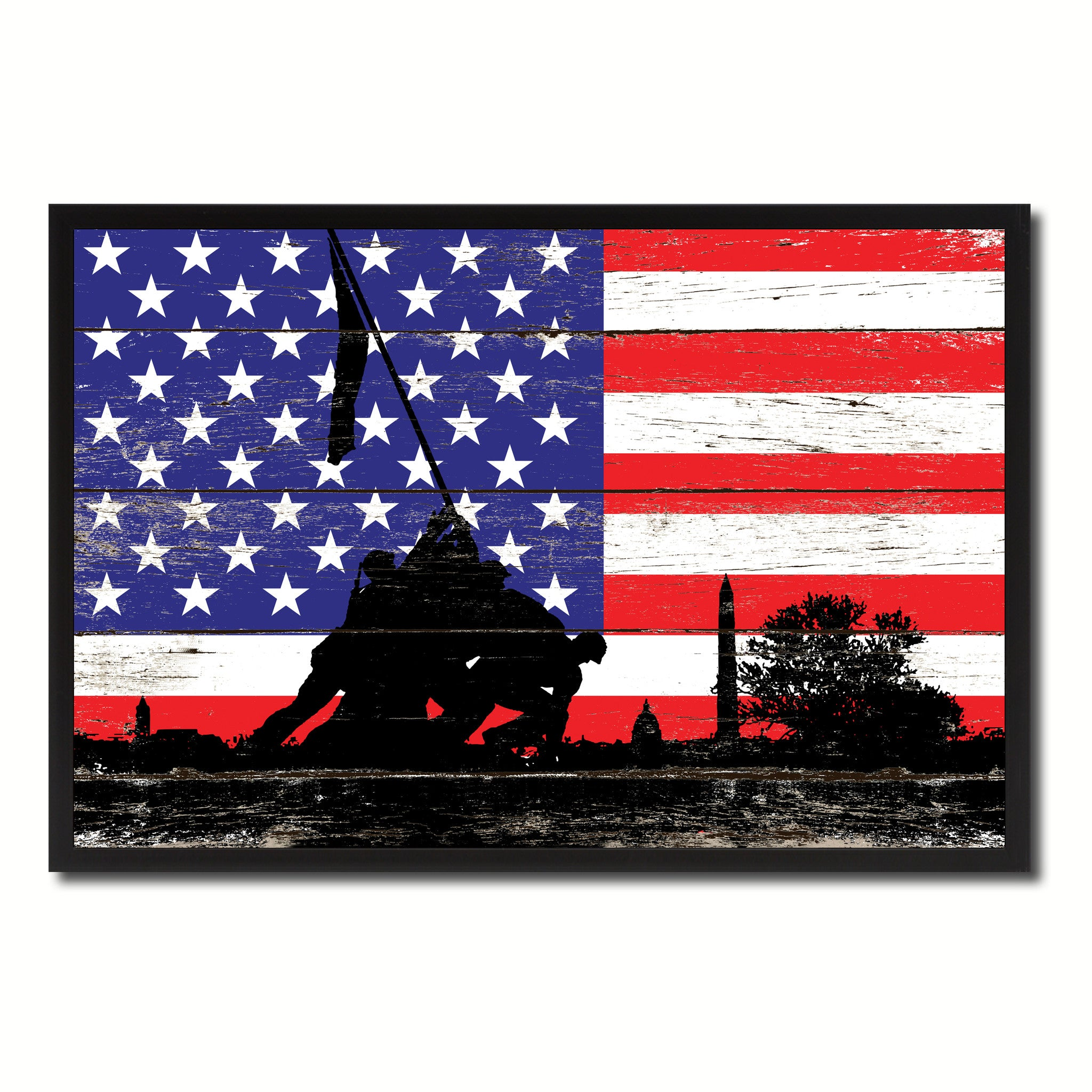 Iwo jima wwii veterans memorial usa flag shabby chic for Home decor online shopping usa