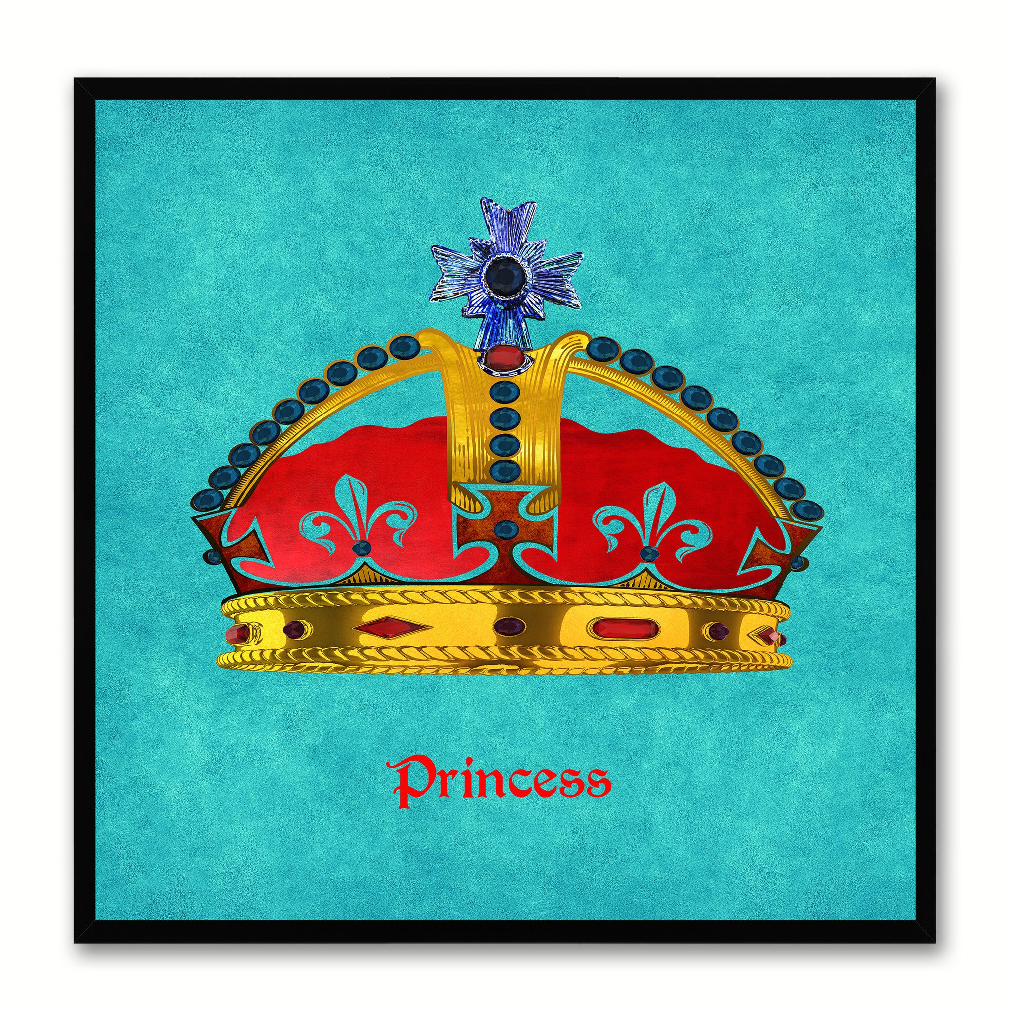 Princess Aqua Canvas Print Black Frame Kids Bedroom Wall Home Décor
