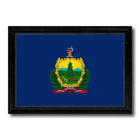 Vermont State Flag Canvas Print with Custom Black Picture Frame Home Decor Wall Art Decoration Gifts