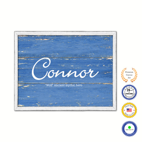 Connor Name Plate White Wash Wood Frame Canvas Print Boutique Cottage Decor Shabby Chic