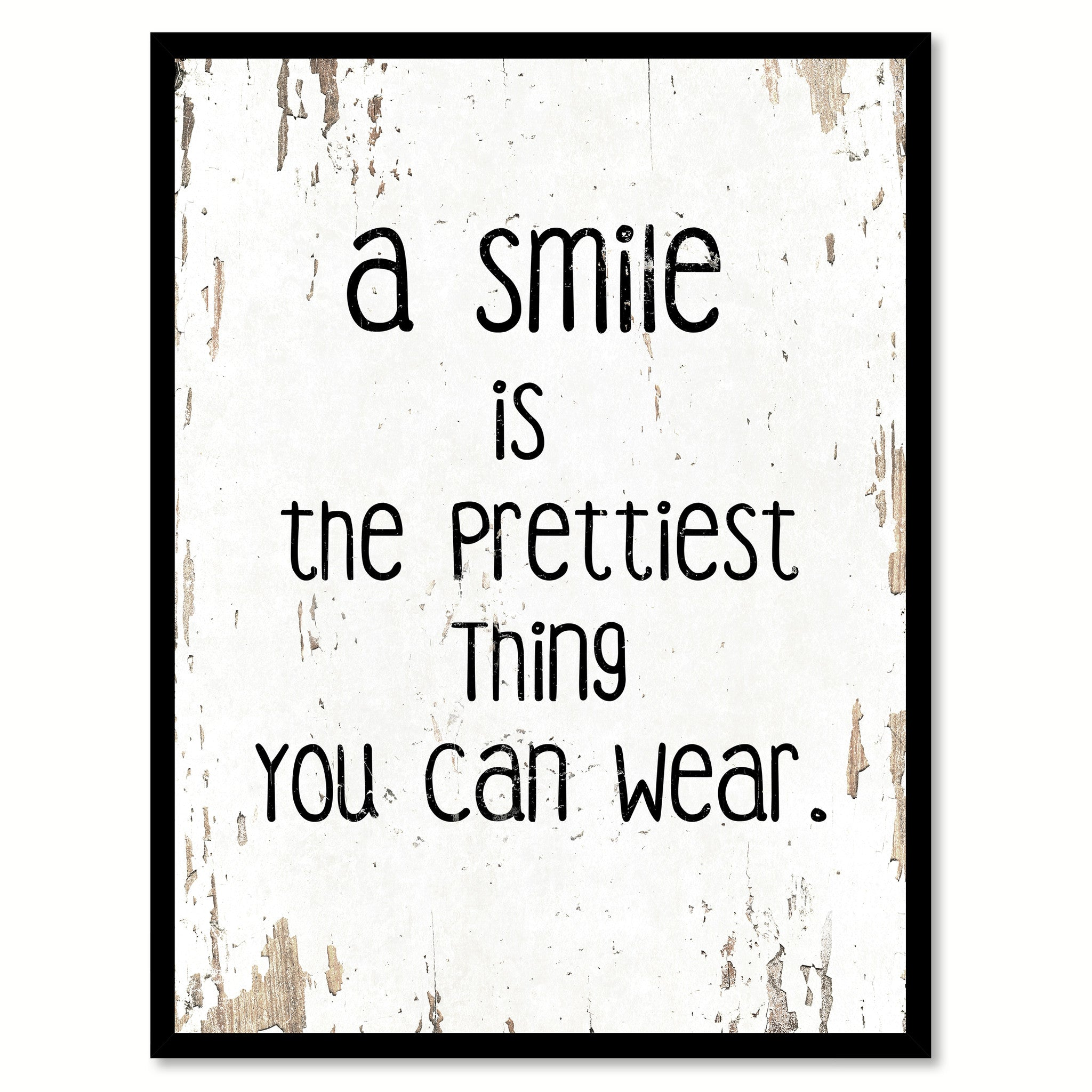 A Smile Is The Prettiest Thing You Can Wear Motivation Quote Saying Gift Ideas Home Decor Wall Art 111445