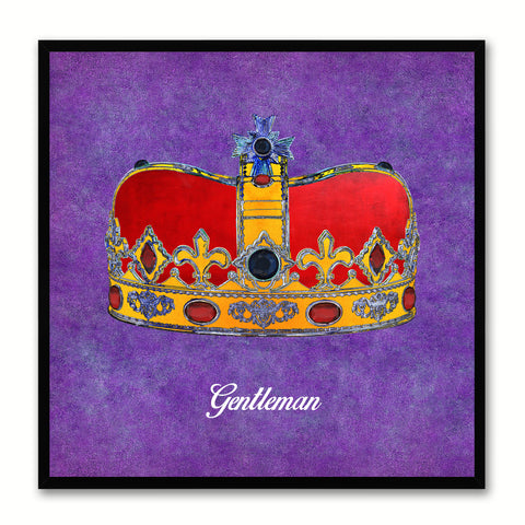 Gentleman Purple Canvas Print Black Frame Kids Bedroom Wall Home Décor