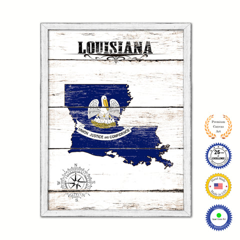 Louisiana Flag Gifts Home Decor Wall Art Canvas Print with Custom Picture Frame