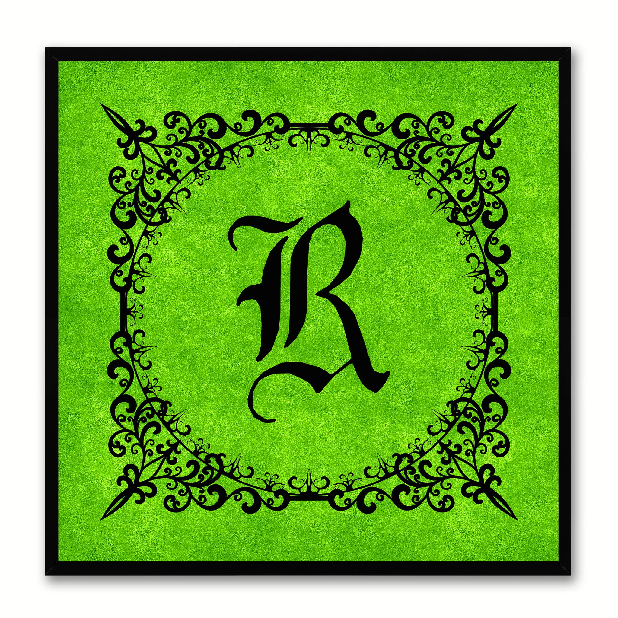 Alphabet R Green Canvas Print Black Frame Kids Bedroom Wall Décor Home Art