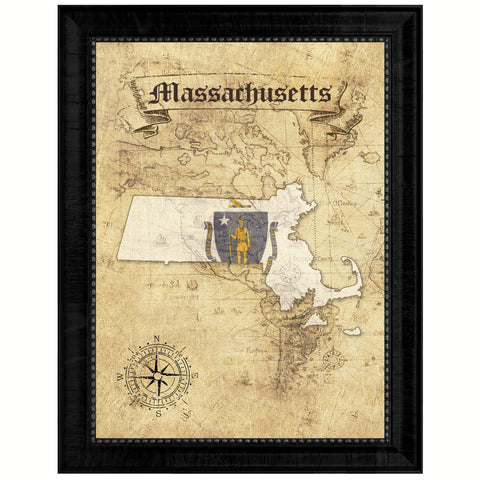 Massachusetts State Vintage Map Gifts Home Decor Wall Art Office Decoration