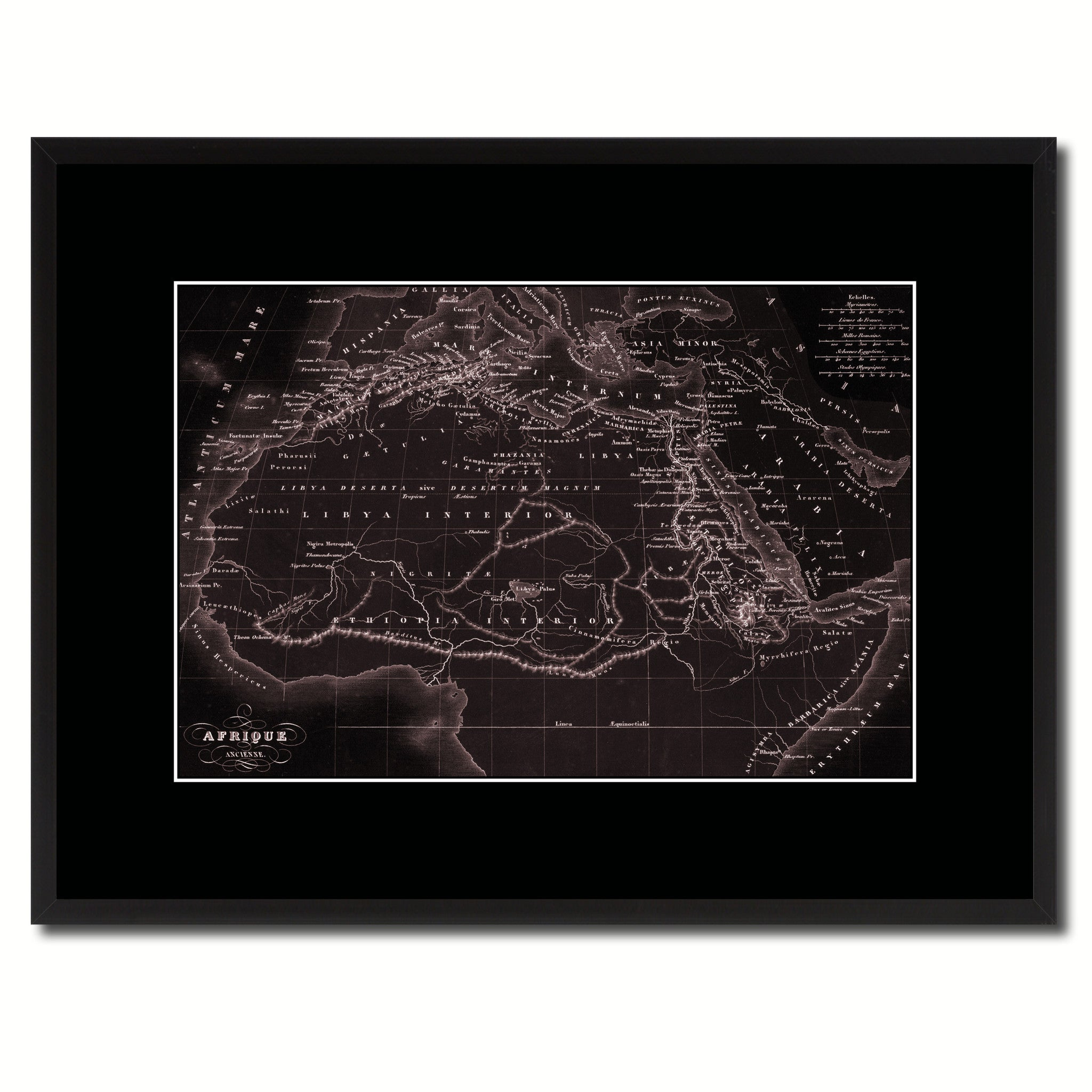 Ancient Africa Vintage Vivid Sepia Map Canvas Print, Picture Frames Home Decor Wall Art Decoration Gifts