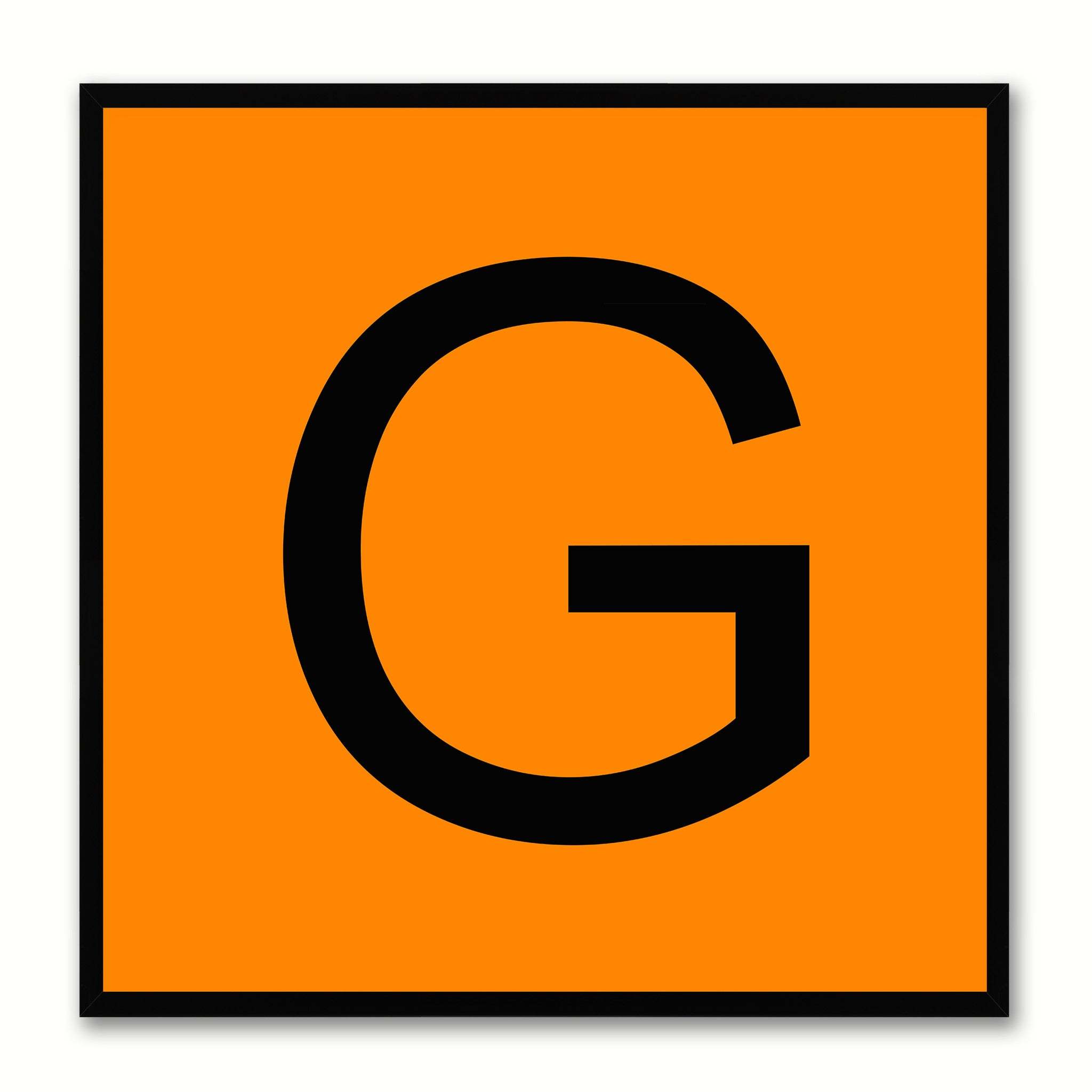 Alphabet G Orange Canvas Print Black Frame Kids Bedroom Wall Décor Home Art