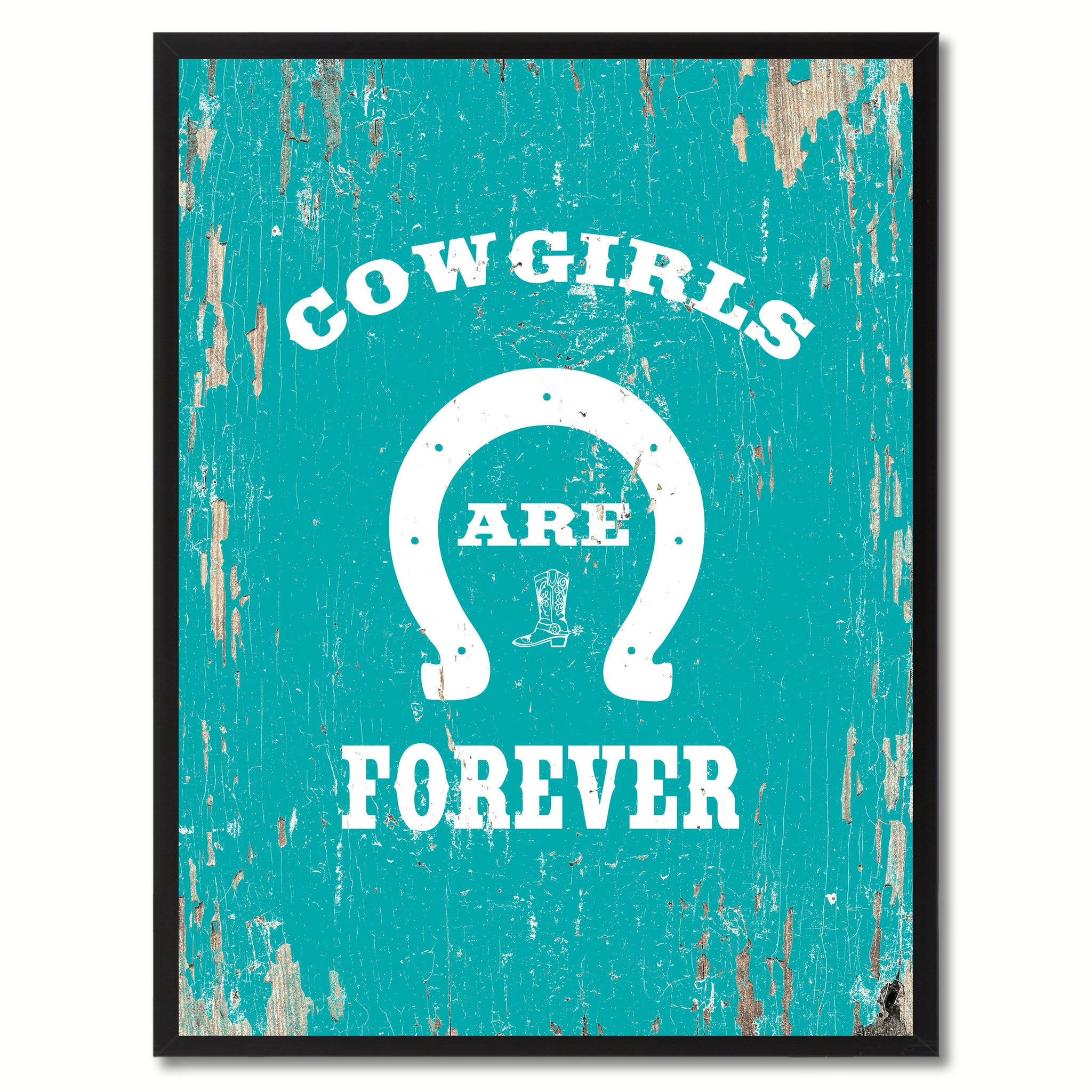 Cowgirls Are Forever Saying Canvas Print, Black Picture Frame Home Decor Wall Art Gifts