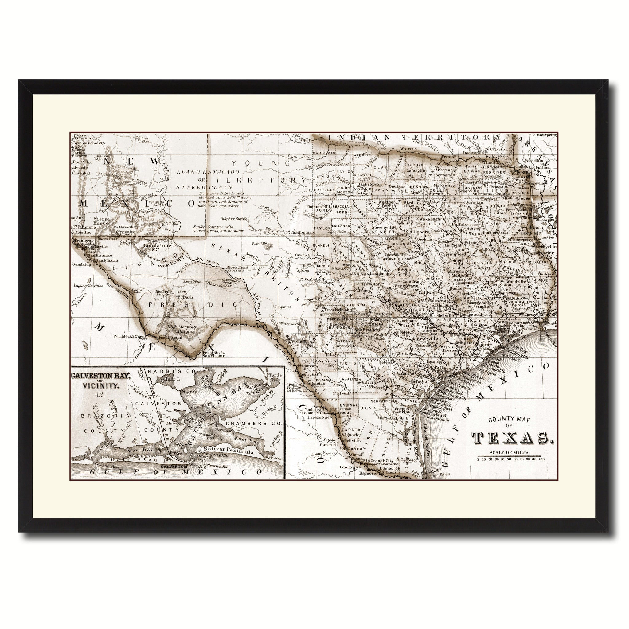 Texas Vintage Sepia Map Canvas Print Picture Frame Gifts Home Decor Wall Art De Ebay
