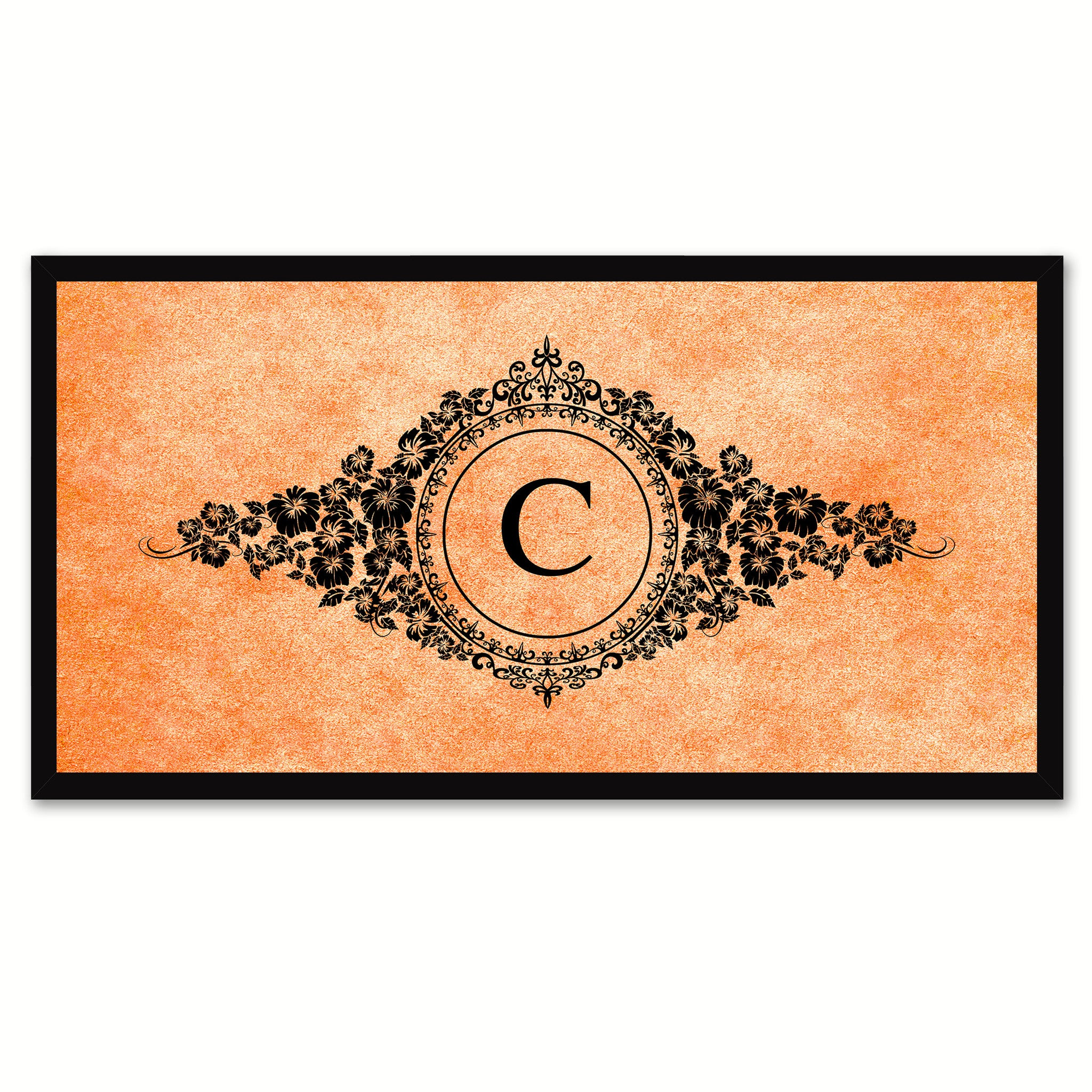 Alphabet Letter C Orange Canvas Print, Black Custom Frame