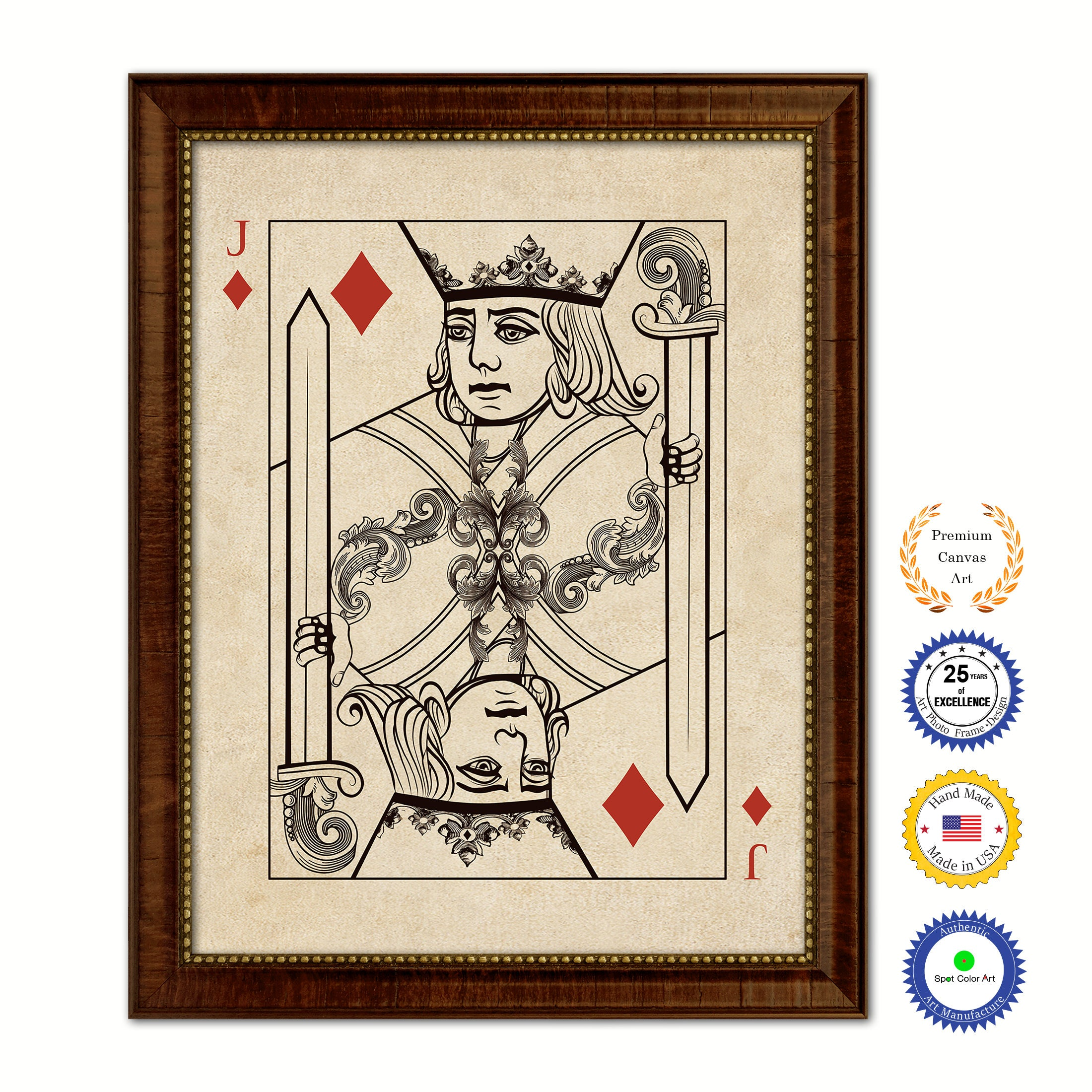 Jack Diamond Poker Decks of Vintage Cards Print on Canvas Brown Custom Framed