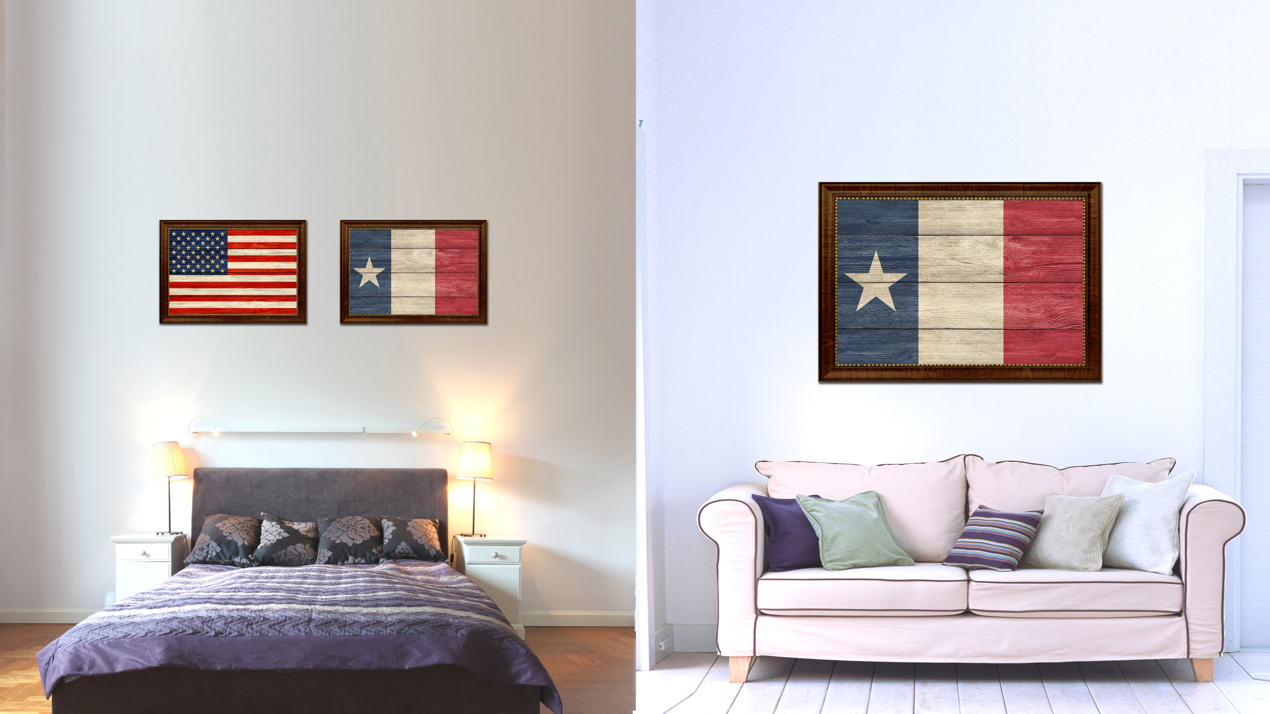 Texas Dodson Historical Flag Texture Canvas Print with Brown Picture Frame Home Decor Wall Art Gifts