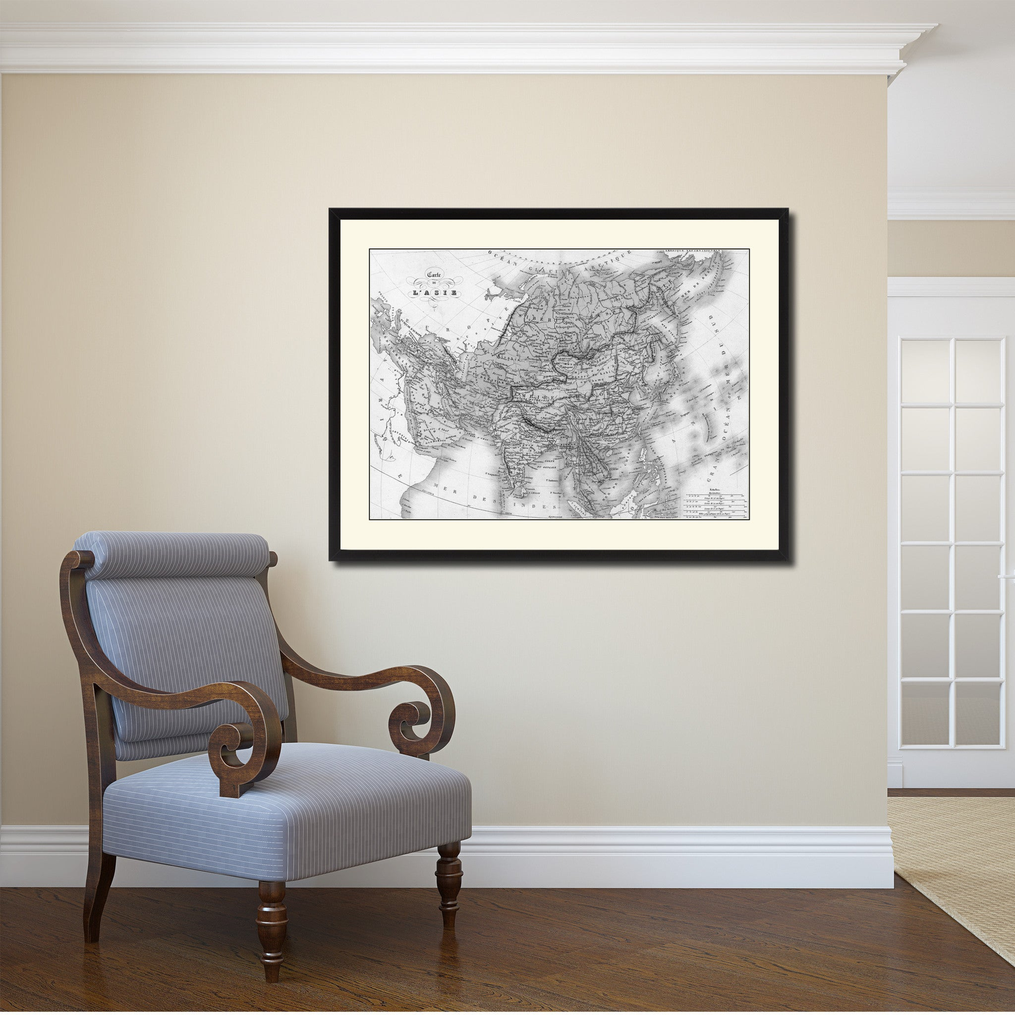 Asia Vintage B W Map Canvas Print Picture Frame Home Decor Wall Art Gift Ideas
