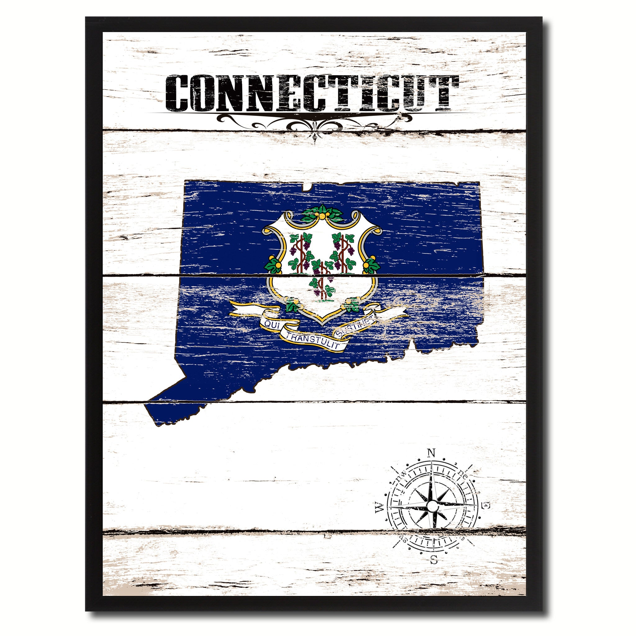 Connecticut State Flag Gifts Home Decor Wall Art Canvas Print Picture Frames