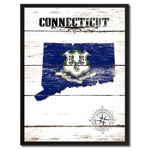 Connecticut State Vintage Flag Canvas Print with Brown Picture Frame Home Decor Man Cave Wall Art Collectible Decoration Artwork Gifts