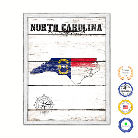 North Carolina Flag Gifts Home Decor Wall Art Canvas Print with Custom Picture Frame