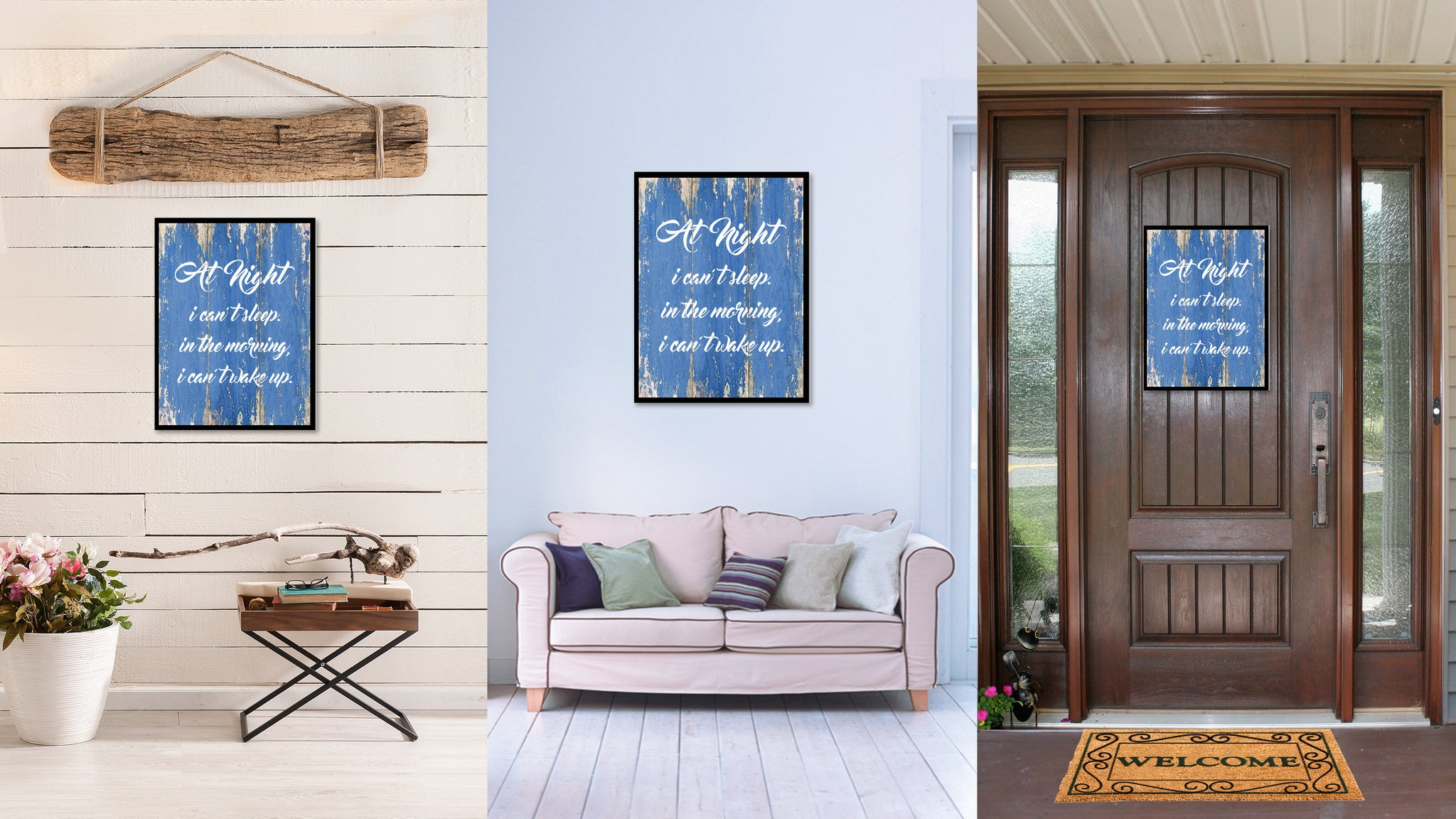 At Night I can't Sleep In The Morning  Quote Saying Gift Ideas Home Décor Wall Art